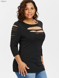 Wholesale plus size cut out tops online – Plus Size Ladder Cut Front Ripped Crew Neck T Shirt T Shirt Three Quarter Sleeve O Neck Casual Ladies Keyhole Tops