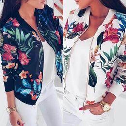 $enCountryForm.capitalKeyWord NZ - 8 Colors Women Jackets Flower Floral Print Retro Ladies Zipper Up Short Thin Slim Bomber Jacket Coats Basic Casual Outerwear