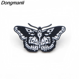 Styles Backpacks Australia - P3188 Dongmanli Harry Style Butterfly Cool Tattoo Metal Enamel Pins and Brooches for Women Men Lapel pin backpack badge Gifts