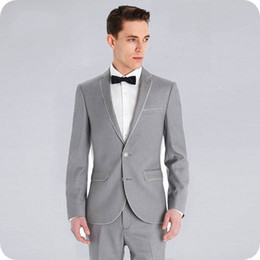 $enCountryForm.capitalKeyWord Australia - Custom Made Grey Groom Tuxedos Men Suits for Wedding 2Piece Two Button Notched Lapel Slim Fit Costume Homme Terno Masculino Trajes de hombre