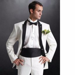 $enCountryForm.capitalKeyWord Australia - Fashionable White Groom Tuxedos,Handsome Slim Fit Men Wedding Groomsmen Business Party Prom Suits (Jacket+Pants+Tie) W:874