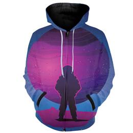 $enCountryForm.capitalKeyWord NZ - Cloudstyle Funny Space Galaxy Hoodies Sweatshirt 3D Hoody Jacket Streetwear Astronaut Moon Landing zipper hoodie