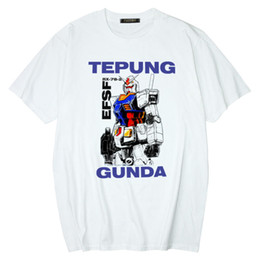 Discount gundam shirt New fashion male designer anime mobile suit Gundam T-shirt RX-78-2 casual short-sleeved printed T-shirt hip-hop T-shirt