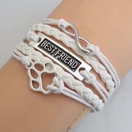 $enCountryForm.capitalKeyWord Australia - Draop Shipping White Leather Cord Handmade Multilayer Bear Paw Bracelets Mens Animal Dog Paw Lover Best Friend Gift