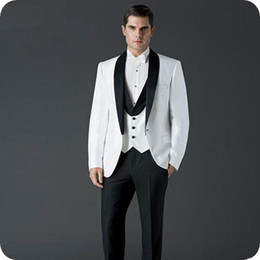 ivory mens slim fit suits Australia - White Groom Tuxedo Men Suits for Wedding Black Shawl Design Slim Fit Mens Professional Attire Costume Homme Mariage Terno Masculino 3Piece