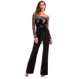 01b0e6b477e Women Summer Slash Neck Sequined Jumpsuit Sexy Long Straight Pants Elegant  Rompers Floral Print Office Lady Backless Jumpsuits D19011501