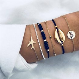 $enCountryForm.capitalKeyWord Australia - 5sets lot Hot European And American Fashion Shell Plane Map bead Chain Personality Trend Bracelet Jewelry Six-piece Drop Shipping