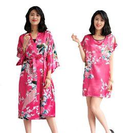Modal Bathrobes Australia - Sexy Summer 2PCS Sleepwear Casual Nightwear Sexy  Lady Floral Peacock Kimono Bathrobe Rayon 2ce7a7b3b