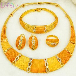 ring shaped earrings Australia - Liffly african Jewelry Sets for Women Round Shape Necklace Bracelet Earrings Ring Creative Wedding Jewelry Sets for Bride