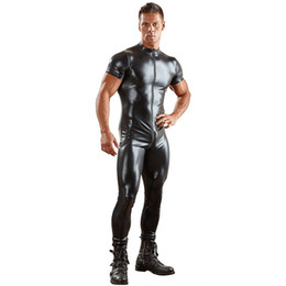 Catsuit Zipper Xl Australia - Faux Leather Sexy Lingerie Wetlook Catsuit Jumpsuit for Men Short Sleeves Zipper Open Crotch Zentai Leotard Plus Size XL 2XL 3XL