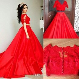 $enCountryForm.capitalKeyWord NZ - 2019 New Arabic Women Two Pieces Prom Dresses V-neck Short Sleeves illusion A-line Court Train Red Evening Dresses Covered Buttons Lace Gown