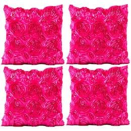 "$enCountryForm.capitalKeyWord UK - Sofa Mattress Pillow Case, 3D Solid Color Silk Satin Rose Romantic Love Cushion Cover Home Decor 4 Piece Set, 18"" x 18 Feet"