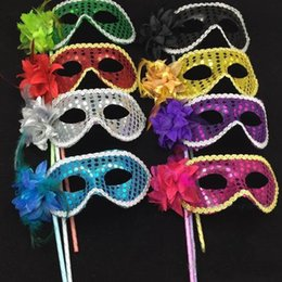 masked ball masks sticks 2019 - Masquerade Party plastic Masks On stick with cloth lace and side Flower masks for Masquerade 2020 Ball Black White color