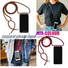 Bumpers for cell phones online shopping - New MIX color long Lanyard strap Transparent TPU Acrylic Bumper Shockproof Back Cover Shoulder Rope Cord Airbag Case for all cell phone