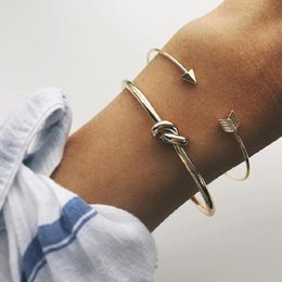 Bracelets for valentines day online shopping - Vintage Cuff Bracelets Bangle for Women Brief Gold Color Open Arrow Knotted Charms Bracelet Beach Party Jewelry Valentines Gift DHL