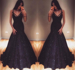 Wholesale New Glamorous V Neck Mermaid Evening Gowns Sequins Prom Dresses On Sale Special Occasion Dresses Sexy Maid Of Honor Dresses Evening