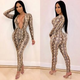 5295838fc32 Sexy Skin bodySuit online shopping - Snake Skin Print Sexy Romper Women  Jumpsuit Casual Deep V