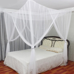 Wholesale 4 Doors Open 4 Corner Square Bed Canopy Netting Rectangle Elegant Mosquito Net Foldable Sleeping Bed Net Full Queen King