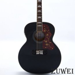 hollow guitar black Australia - High Sales 6 Strings LYL0229YY Electric Acoustic Guitar Fishman 101 Solid Spruce Top Grover Tuner Black Color