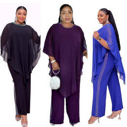 two piece jumpsuit plus sizes NZ - 2019 autumn elegent fashion style african women polyester plus size two pieces sets top and jumpsuit L-3XL
