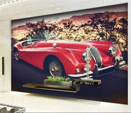 vintage car prints NZ - Custom 3D Room Photo Wallpaper Mural Red vintage sports car 3D Picture Mural Modern Art Creative Living Room Hotel Study Backdrop Wallpaper