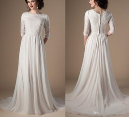 $enCountryForm.capitalKeyWord Australia - Ivory Modest Wedding Dresses 2018 With 3 4 Sleeves Beaded Lace A-line Chiffon Boho Informal Bridal Gown Religious Wedding Gown