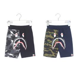 kid lace short pants 2019 - Boys camouflage beach shorts fashion kids monkey shark pattern printed shorts boys contrast colors lace-up elastic casua