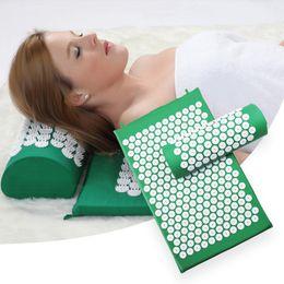 $enCountryForm.capitalKeyWord Australia - Yoga Mats Pillow set Massager 4 Color Cushion Acupuncture Relieve Stress Back Pain Acupressure Pad Massage Rose Spike Massage