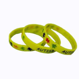 Promotional Charms Australia - High Quality AUTISM Debossed And Ink Filled Stock rubber silicone Bracelets wristbands for promotional gifts 320pcs