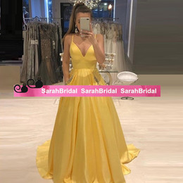 $enCountryForm.capitalKeyWord Australia - Gorgeous Yellow Deep V Neck Prom Dresses Long Pockets Appliqued Ball Gown Formal Evening Party Gowns Satin Pageant Dress