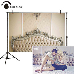 vintage studio background Australia - hoto Studio Backgrounds Allenjoy new baby family photo backdrop ivory headboard fashion classic damask bed vintage photograph prop photo...