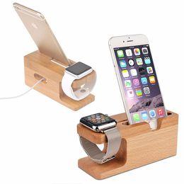 Bambu estação de carregador de madeira para apple watch estação doca de carregamento carregador stand holder para iphone iwatch dock stand titular em Promoção
