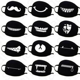 40 Colors Cartoon Face Masks Anti Dust Face Cover Mask Kawaii Anime Mouth Masks Kaomoji-kun Emotiction Breathable Cotton Black Mask D31406 on Sale
