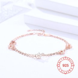 $enCountryForm.capitalKeyWord Australia - Fashion Jewelry Rose Gold Plated Double Layer Star Women Bangles 925 Sterling Silver 2019 new arrival women accessories thin chain Bracelet