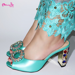 $enCountryForm.capitalKeyWord Australia - Shoes Women Green Evening Party Pumps Wedding Appliques Crystal Flower Decorated on African Shoes Without Matching Set Pumps 9cm