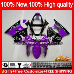 kawasaki zx6r 1999 fairing body Australia - Body For KAWASAKI ZX-6R 6 R ZX-636 ZX600 ZX600CC 98 99 39HC.94 600CC ZX636 ZX6R 98 99 ZX 636 ZX 6R 1998 1999 purple black Full Fairing kit