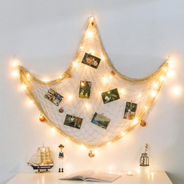 collage photos frames Canada - Decoration Seashell DIY Home Ornament Pictures Artwork Hanging Fishing Net Organizer Collage Bedroom Display Cards Photo Frames