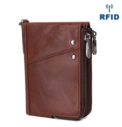 Business Card Holder Magnetic Australia - RFID anti-magnetic leather wallet Men's wallet Business fashion multi-card holder Clutch bag Genuine Leather Men Wallets & Holders
