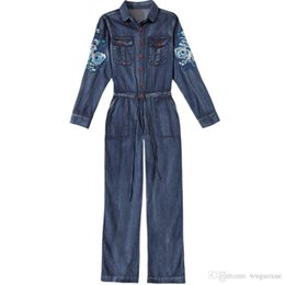 Women Washed Jumpsuit NZ - Denim Jumpsuit women 2019 hight Waist embroidered Overalls Playsuits Long Sleeve turn-down collar Jeans Rompers