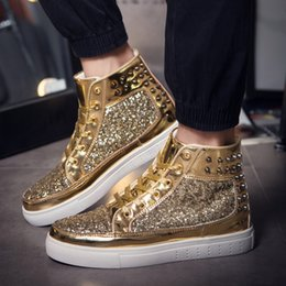 silver safety NZ - Glittering Boots Running Shoes Medium Olive Silver Yellow Gold Women Sports High Shoes Fashion Casual Shoes Training Sneakers 574763