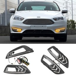 focus drl led NZ - For Focus 3 3 2015 2016 2017 2018 Turn signal and dimming style Relay 12V LED Car DRL daytime running light with fog lamp