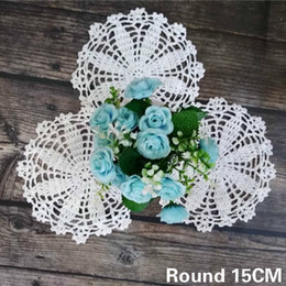 modern table placemats Australia - 15CM Round Handmade Crochet Tablecloth Vintage Placemats Mantel Individual Table Wedding Doily Dish Mat Cup Coffee Pad Coaster
