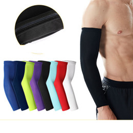 Wholesale Basketball Arm Guards Lengthen Elbow Protective Gear Sports Riding Fitness Arm Warmers Running Slip Breathable Sunscreen Sleeves ZZA922