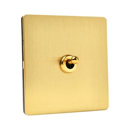 Toggle swiTch way online shopping - Gold color gang Wall Switch and way stainless steel panel Light Switch with gold toggle