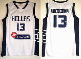 9ec6eb41b3fb Greece Hellas College Jerseys The Alphabet Basketball 13 Giannis  Antetokounmpo Jersey Men White Team Sport Breathable Uniform Low Price