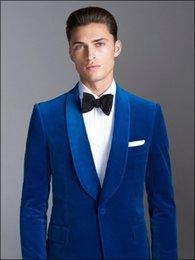 Beige Slim Suits For Men Australia - Royal Blue Velvet Shawl Lapel Formal Custom Groom Wedding Suits For Men Slim Fit 2 Pieces Terno Latest Coat Pant Designs 2017