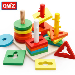 $enCountryForm.capitalKeyWord Australia - Qwz Wooden Geometric Puzzle Board Kids Educational Jigsaw Stacker Toddler Wooden Toys For Children Gifts Montessori Kids Toys Y19070503
