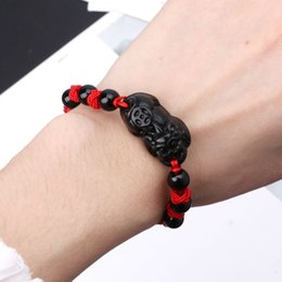 red string bracelet good luck Australia - Obsidian Stone Pi Xiu Kabbalah Red String Bracelet Attract Wealth Good Luck