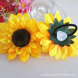 $enCountryForm.capitalKeyWord Australia - Artificial Silk Yellow Sunflower Head Fabric Floral for Home Decoration Wedding Decor Garden Craft Art Decor Head Rope Flower Dancing Props