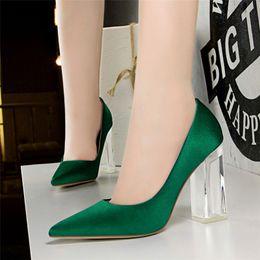 $enCountryForm.capitalKeyWord NZ - Dress 2019 Plus Size 43 Women Block 10cm High Heels Lady Scarpins Green Satin Pumps Female Wedding Yellow Blue Silk Transparent Shoes